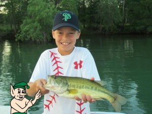 Parker 10 years old 3 lb bass on Blue Lake
